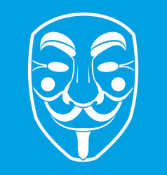 Vendetta mask icon white vector