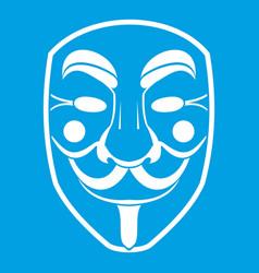vendetta mask icon white vector image