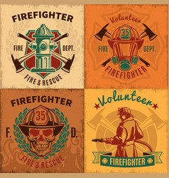 Vintage firefighting emblems set vector