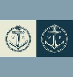 vintage sea logotype concept vector image
