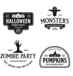 Vintage set happy halloween vintage badges vector