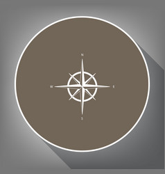 wind rose sign white icon on brown circle vector image