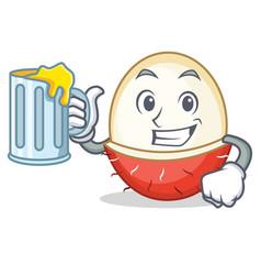With juice rambutan mascot cartoon style vector