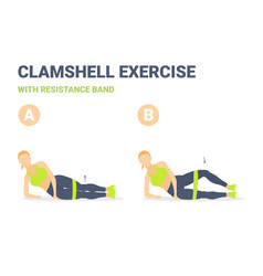 Woman doing clamshell with resistance band vector
