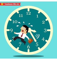 Worried executive running against time vector