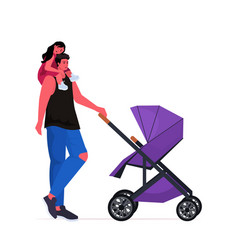 young father walking outdoor with crying daughter vector image