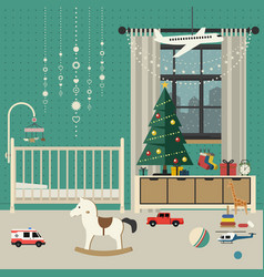 christmas baby room interior vector image