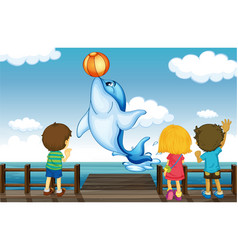 Kids and dolphin vector image