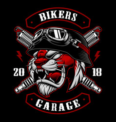 tiger biker with spark plugs vector image vector image