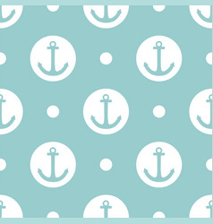 Tile sailor pattern with anchor and polka dots vector