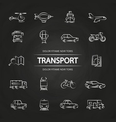 transport line icons collection on blackboard vector image