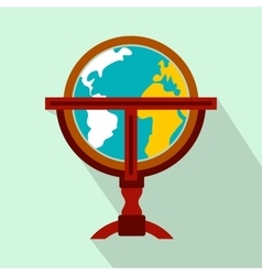 Antique earth globe flat icon vector image