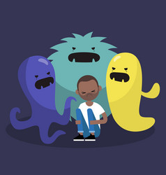scared black character surrounded by ugly vector image vector image