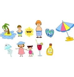 Summer beach icon set vector