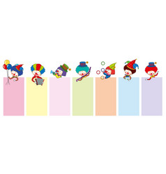 banner templates with happy clowns and tools vector image