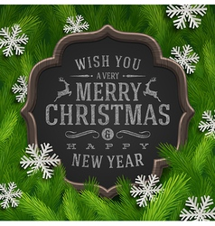 Chalkboard with christmas greeting and snowflakes vector image