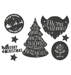 Hand drawn Christmas and New Year decoration set vector image vector image