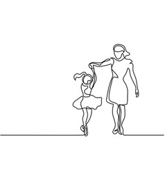 happy dancing woman - continuous line drawing vector image vector image