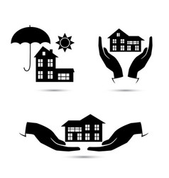 insurance black icons set vector image vector image