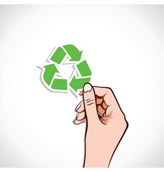 Recycle Icon In Hand vector image vector image