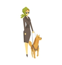 Stylish Blind Woman With Guiding Dog Young Person vector image vector image