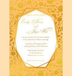 Wedding invitation luxury roses floral invite vector