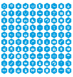 100 children icons set blue vector image