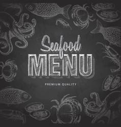 chalk drawing typography seafood menu design vector image