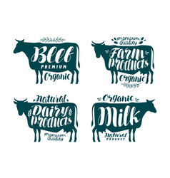 cow label set milk beef dairy products meat vector image vector image