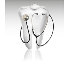 Medical background with tooth and a stethoscope vector image