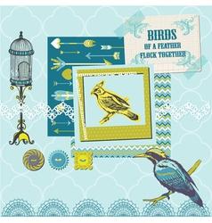 Scrapbook Design Elements - Vintage Birds Set vector image vector image