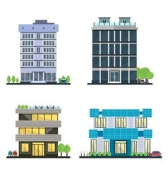 Set of modern business center with diverse vector image vector image