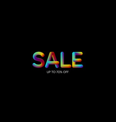 3d iridescent gradient sale sign vector