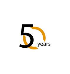 50 years anniversary half circle template design vector