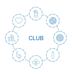 8 club icons vector