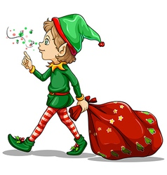 A young elf dragging a sack of gifts vector image