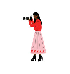 African american woman taking photos with digital vector