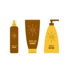 After sun lotion Tube of sunscreen suntan oil vector