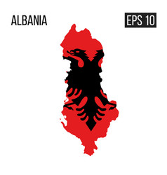 Albania map border with flag eps10 vector