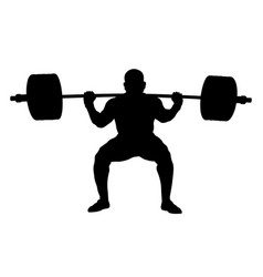 Athlete powerlifter squat with barbell vector