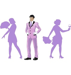 Attractive asian man with corps de ballet dancers vector