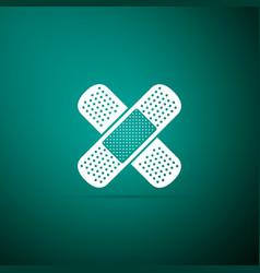 bandage plaster icon isolated on green background vector image
