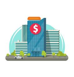 Bank building on city street vector