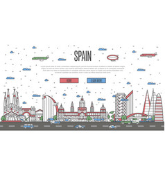 barcelona skyline with national famous landmarks vector image