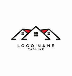 black red house for real estate logo vector image