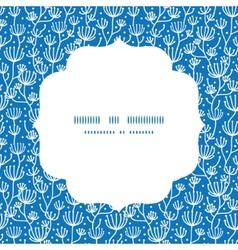 Blue white lineart plants circle frame vector