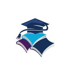 books graduation cap vector image