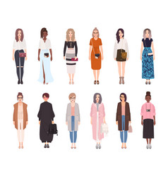 Bundle pretty women dressed in modern vector