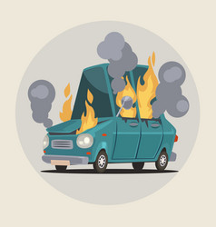 Burning car vector