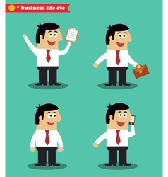 Businessman in poses standing set vector image